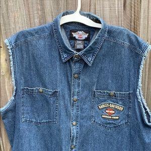 Harley Davidson indigo denim blow-out shirt xxl